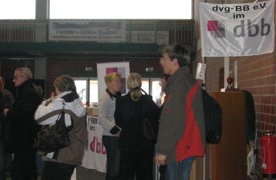 Der umlagerte DVG-BB-Stand bei der Personalversammlung des LS